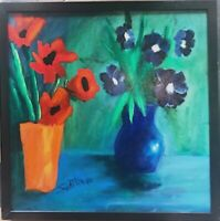 VASES of  FLOWERS Painting by SWARTZMILLER - DNA SIGNED Pop Art Outsider BRUT