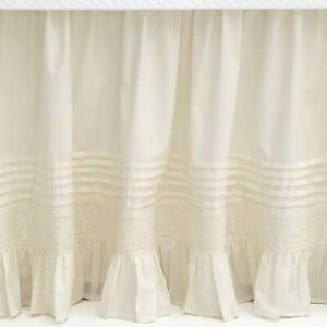 Pine Cone Hill Louisa Ivory Ruffle Bed skirt Open Package King Embroidered