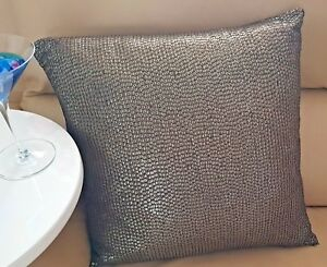 SEQUINED Front Cushion Pre Filled 45 x 45cm Chocolate Brown