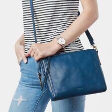 NWT $138 Fossil Emma Leather East West Crossbody Bag Marine BLUE ZB6842433