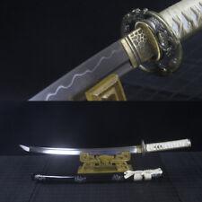 T10 Clay Tempered SHINOGI-ZUKURI Blade JAPANESE SAMURAI SWORD WAKIZASHI SHARP