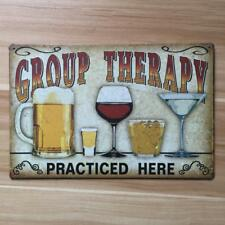 Retro Metal Tin Sign Plaque Vintage Group Therapy Picture Bar Pub Man Cave