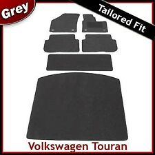 VW Touran Mk1 2003-2010 Round Clips Tailored Fitted Carpet Car & Boot Mats GREY