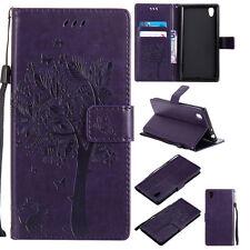 Cat Tree Stand  Wallet Leather Flip Case Cover For Sony XA1 L1 Z3 Z4 Z5 E4 E5 C6