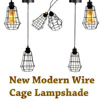 Vintage Cage Wire Pendant Light Industrial Metal Frame Loft Ceiling  Lamp Shades