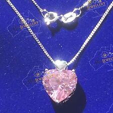 5.6ct Simulated Pink Diamond Real 925 Silver Heart Shape Pendant Chain Necklace