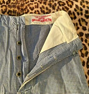FRENCH 1930s RARE WORKWEAR BUTCHER PANTS~ HOUNDSTOOTH BLUE & WHITE COTTON ~W:27