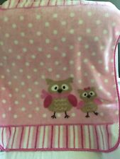 Luvable Friends Pink Brown Owls Baby Child Throw Fleece Blanket White Polka Dots