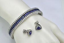 Tanzanite Marquis Clear Topaz Tennis Bracelet W/Earrings .925 Sterling Silver