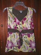 Women's S Apt. 9 V-Neck Multi-Color Floral Print Sleeveless Top