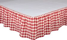 Red & White King Gathered Cotton Bed Skirt Split Corners Annie Buffalo Check