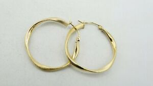14K Yellow Gold Smooth & Matted Twisted Hoop Earrings 30mm 2.3g S3133