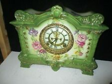New ListingReal Nice Ansonia Royal Bonn Porcelain Clock W/Outside Escapement 'LaPalma '