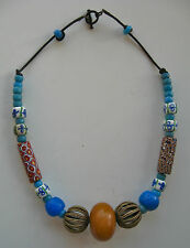 """Ethnic Design Necklace/Antique Trade Beads, African Amber/22"""""""