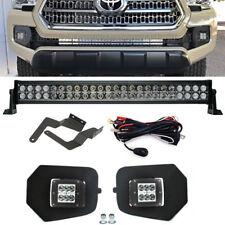For 16-UP Toyota Tacoma Hidden Lower Bumper 24W Fog Light&180W LED Bar Combo Kit