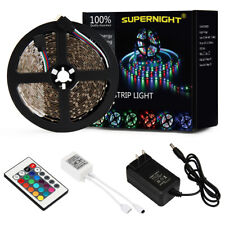 SUPERNIGHT® 300leds RGB 5M 3528 LED Strip Light +24keys Remote +12V Power Supply