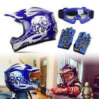 DOT Youth Motorcycle Helmet Motocross Dirt Bike Downhill Off-Road Kids Gift Blue