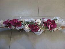 Tischdeko Floristik Schale Orchidee Gesteck bordeaux creme Shabby Kokosschale