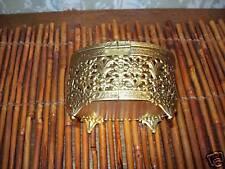 Vanity Casket Gold Filigree Trinket Jewelry Box vintage Mid Century