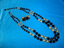 VINTAGE 1950'S JONNE HOUSE OF SCHRAGER BLACK GLASS GOLD BEAD NECKLACE & EARRINGS