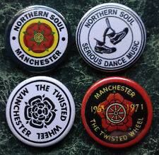 4  NORTHERN SOUL BUTTON BADGES  1 INCH / 25mm MANCHESTER  WHEEL PIN PATCH
