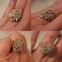 1.52 Ct Round Cut Diamond Cluster Engagement Wedding Ring 14K Yellow Gold FN