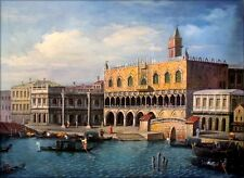 Stretched Hand Painted Oil Painting Repro Canaletto Ducal Palace 30x40in