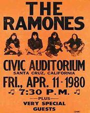 Vintage looking  1980  THE RAMONES  Concert Tour Poster   Punk    Santa Cruz  CA