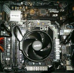 Mainboard mit CPU AMD Ryzen 5 1600 auf Asrock A320M-Pro4 mit 8 GB DDR4 RAM