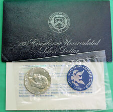 1974 S SILVER Ike Dollar Blue Eisenhower BU 40% Silver Coin & US Mint Envelope#R