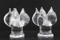 "Vintage Pair of Kosta Boda Glass Flower Form Candlesticks by Goran Warff MCM ~5"""