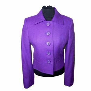 HOBBS Purple Cropped 100% Wool Jacket 60s style Size UK 10