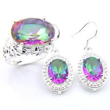 Natural 2 Pcs 1 Lot Handmade Mystic Topaz Gems Silver Earrings Ring Size 7 8 9