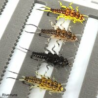 Riverruns Realistic Flies Mayfly Stone Caddis Dry Trout Nymph Wet Fishing Flies