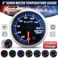 """2"""" 52mm Car Black Face LED Analog Water Temp Gauge Temperature °C Meter +"""