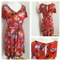 M&Co Tea Dress Red Floral Summer Midi Belt Fit & Flare Size 10