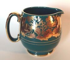 Sadler Green Pitcher With Hand Applied Raised Gold Moriage Decorations - England