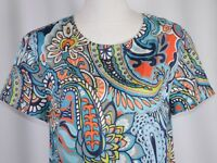 J. CREW Women's Silk Blouse Size 4 Short Sleeve Pullover Paisley Colorful Floral