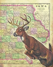 Whitetail Deer Hunting Vintage Iowa Map Art Print Antlers Sheds Buck Bow MAP01
