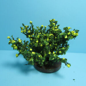 Dollhouse Miniature Outdoor Small Blooming Rose Bush in Yellow CARBSY
