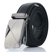 Fashion Mens Black Leather Ratchet Belt Automatic Buckle Strap Waistband W1B1