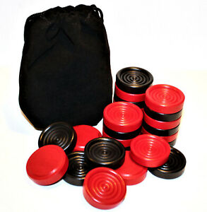 """Set of 26 Stacking 1 1/4"""" Wood Checkers w/ Bag – Made in USA – Black Red"""