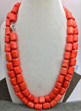 "Natural Orange coral 14-16mm irregular bead necklace chain gemstone 52"""