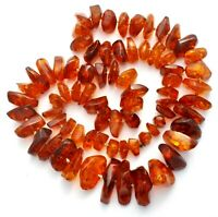 "Vintage Natural Large Baltic Amber Nugget Bead Necklace 32"" Long 136 Grams"