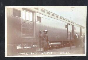 REAL PHOTO MOSSE JAW SASKATCHEWAN INDIAN TRAIN RAILROAD POSTCARD COPY