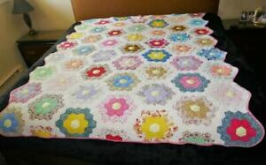 "BEAUTIFUL VINTAGE HANDMADE COLORFUL GRANDMOTHER'S FLOWER GARDEN  QUILT 82"" BY 64"
