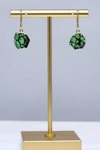 Trapiche Emerald Earrings - Colombian Emerald Dangling Earrings 18K Gold