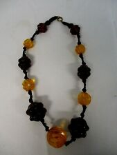 """VINTAGE CARVED BAKELITE PLASTIC BEAD KNOTTED CORD NECKLACE 23"""""""
