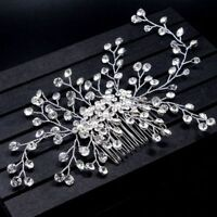 Wedding Party Head Clip Crystal Hair Comb Bride Headpiece Flower Headdress