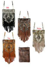 Women Cowgirl Western Floral Fringe Concho Cross Body Messenger Purse
